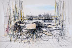 Femme nue allong�e devant un port - Nude woman slept in front of a port