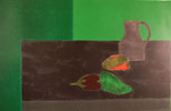 Nature morte noire et verte aux poivrons - Still Life in black and green with peppers
